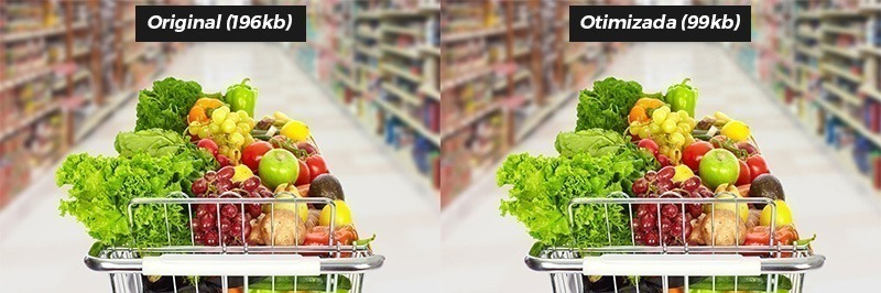 Grocery shopping cart with vegetables and fruits on supermarket background.