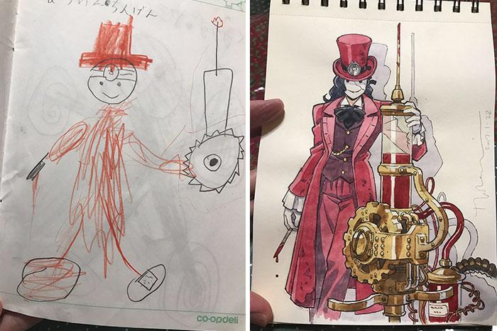 ilustrador-decide-transformar-os-desenhos-dos-filhos-em-personagens-de-anime (2)