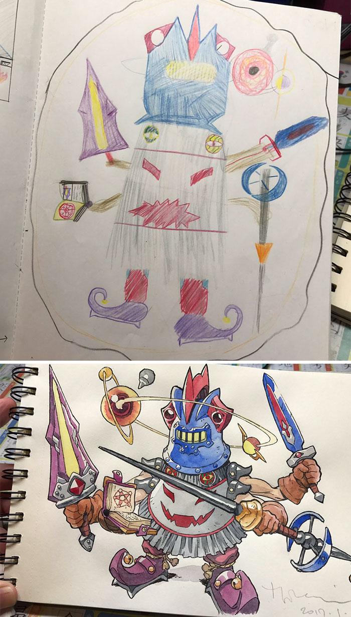 ilustrador-decide-transformar-os-desenhos-dos-filhos-em-personagens-de-anime (5)