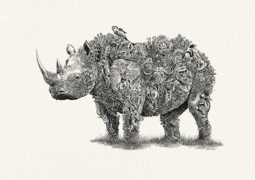 Ele cria verdadeiras obras de arte para celebrar a vida selvagem